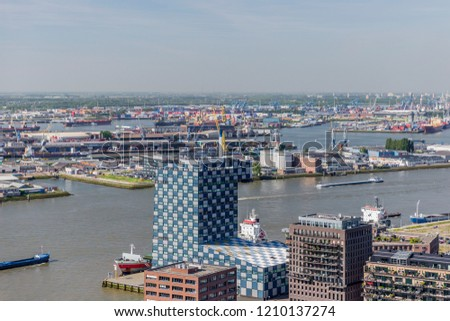 panoramic view of a part of Rotterdam in the Netherlands Holland #1210137274