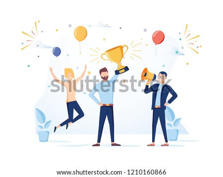 Team Success vector concept. Business people celebrating victory. Man holding gold cup. Flat Vector illustration. Achievement reward. Businessman and businesswoman happy in office. Victory prize Royalty-Free Stock Photo #1210160866
