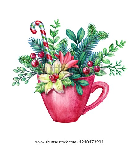 christmas red tea cup decorated with conifer twigs, flower, candy cane, watercolor illustration, floral decor, conifer twigs, bouquet inside tea cup, holiday clip art isolated on white background