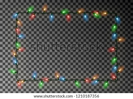 Christmas lights border vector, light string frame isolated on dark background with copy space. Transparent decorative garland. Xmas light border effect. Holiday decor element. Vector illustration. #1210187356