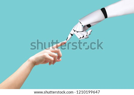 Human hand and robot hand system concept Integration and coordination of intellectual technology and vintage #1210199647