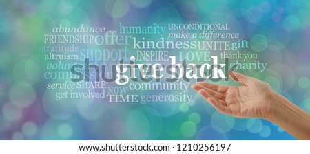 GIVE BACK word tag cloud - female open hand gesturing towards the words GIVE BACK surrounded by a relevant word cloud against a blue bokeh background                                 #1210256197