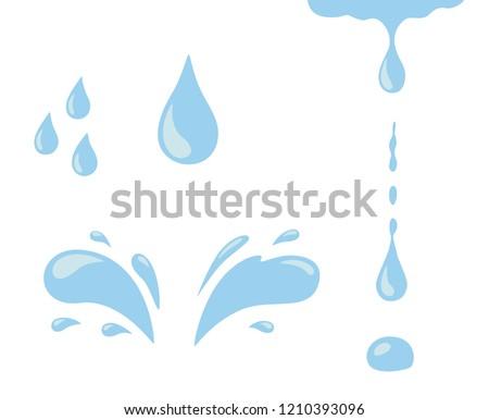 Water drop icon set. Blue spray, tear