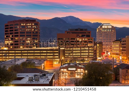 Downtown Colorado Springs at Dusk #1210451458