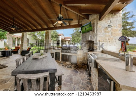 San-Antonio,TX/USA - July 2018: Beautiful Architecture in Modern Villa #1210453987