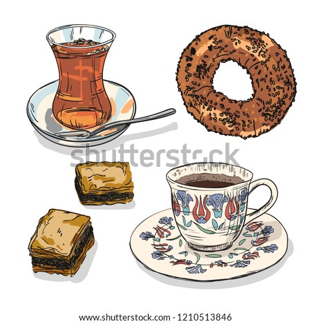 Drawing national turkish tea and coffee with simit and baklava. Hand drawn traditional turkey bavarages and bagels.