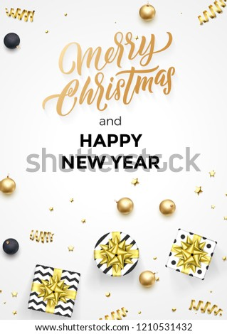 Happy New Year and Merry Christmas greeting card background template of golden modern quote calligraphy. Vector gift ribbon or gold glittering confetti stars #1210531432
