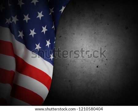 Closeup of American flag on grey background #1210580404