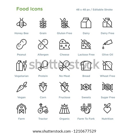 Food Icons - Outline styled icons, designed to 48 x 48 pixel grid. Editable stroke.