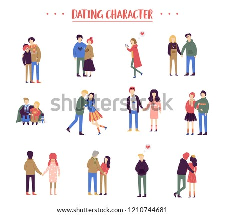 Flat cartoon happy romantic couples walking together on white background. Standing single lonely girl or pairs of men and women on date. Modern colorful vector illustration #1210744681