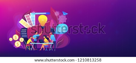 Digital marketing team with laptops and light bulb. Marketing team metrics, marketing team lead and responsibilities concept on white background. Header or footer banner template with copy space. Royalty-Free Stock Photo #1210813258