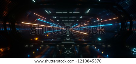 Spaceship interior bridge corridor with vivid transition lightining, 3d Rendering