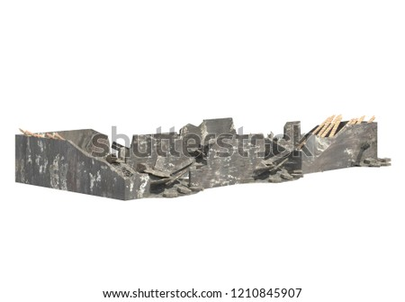 Ruined Building Isolated On White 3D Illustration #1210845907