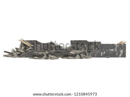 Ruined Building Isolated On White 3D Illustration #1210845973