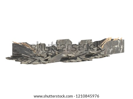 Ruined Building Isolated On White 3D Illustration #1210845976