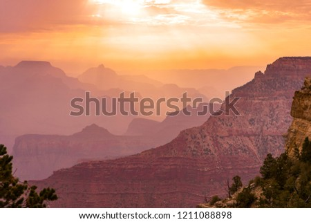 Perfect sunset over the beautiful Grand Canyon. Magical western colors on the Colorado desert.   #1211088898