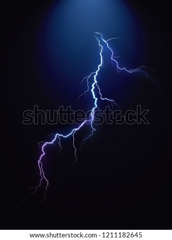 Realistic vector lightning on black energy background. Bright, electric lightning.