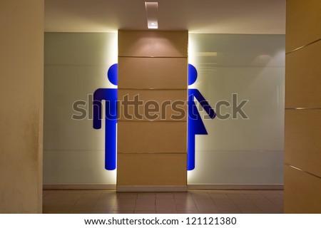 Toilet symbols for men and women.