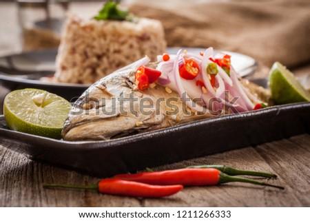 Fried mackerel spicy,Thai food #1211266333