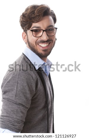 Isolated young business man portrait on white background #121126927