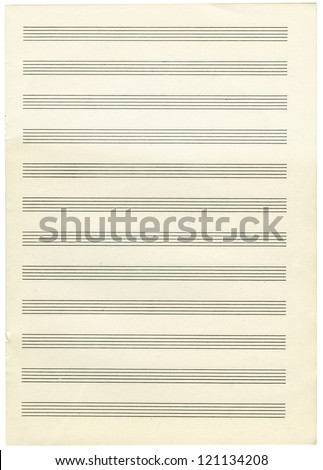 a note paper for musical notes isolated on a white background