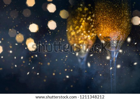 Happy New Year 2019! Christmas and New Year holidays background, winter season.  #1211348212