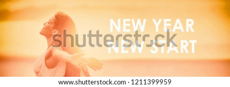 NEW YEAR NEW START motivational message, inspirational quotes for the New Year 2019 resolution in fitness weight loss. Happy woman with arms up for new life challenge banner panorama. #1211399959
