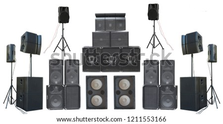 Set of powerful old industrial stereo speakers isolated over white background. #1211553166