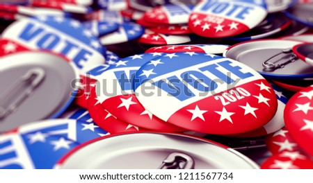 vote election badge button for 2020 background, vote USA 2020, 3D illustration, 3D rendering #1211567734