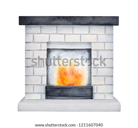 White brick fireplace with black wooden mantel shelf. One single object, front view. Cosy symbol of warmth and family traditions. Hand painted watercolour drawing, cut out clip art element for design.
