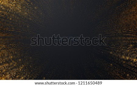 Abstract black background textured with radial golden halftone pattern. Vector illustration. Decoration element with stamped dotted ornament. Creative cover design template. Bursting light rays shape Royalty-Free Stock Photo #1211650489