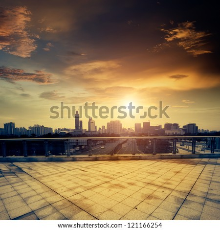 The city square in the evening Royalty-Free Stock Photo #121166254