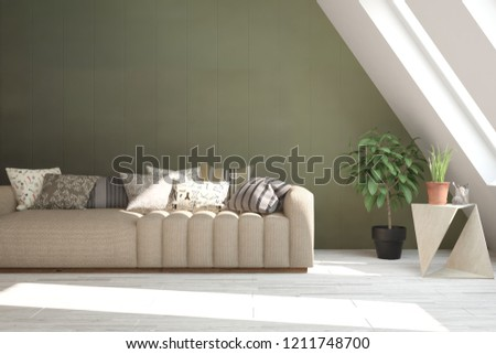 Idea of green minimalist room with sofa. Scandinavian interior design. 3D illustration #1211748700