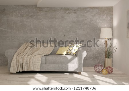 White modern room with sofa. Scandinavian interior design. 3D illustration #1211748706