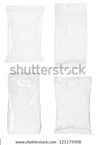 collection of various paper bags on white background. each one is shot separately #121175908