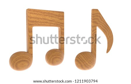 Wood texture music note icon symbol. 3D Illustration rendering with clipping path