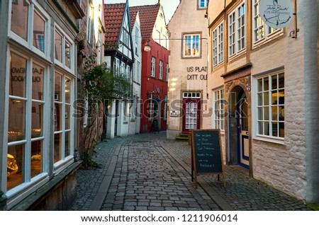 Germany. Bremen. Ancient houses on the street Schnoor in Bremen. February 14, 2018 #1211906014