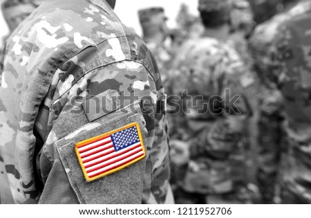 US army uniform patch flag. US Army. Military Concept.  Royalty-Free Stock Photo #1211952706
