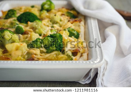 Savory tart, pie with potatoes, broccoli, bacon and cheese. #1211981116
