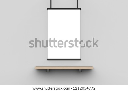 Blank poster on a wall with wooden shelf isolated on light grey background, 3d illustration.  #1212054772