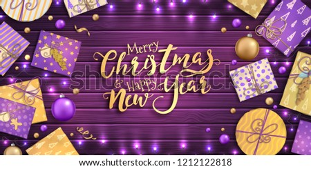Merry Christmas and happy new year banner with Christmas decoration: colorful balls, purple and gold gift box, garland on wooden background. Xmas holiday greeting card, beautiful Christmas sale poster #1212122818
