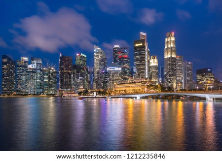 Singapore - December 1, 2016 : Marina Bay and Financial district with skyscrapers office business building. #1212235846