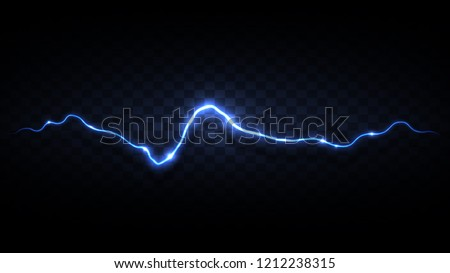 Abstract background in the form of lightning. A powerful charge causes many sparks. Power of nature. Bright curved line on a black background. Illuminated path. Vector background