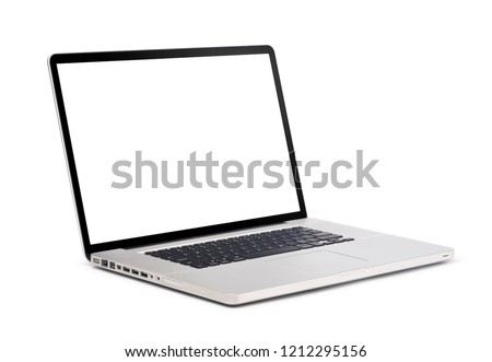 Left side view of Modern slim design laptop with usb and headphone port, blank screen, Aluminum material, isolated on white background with clipping path #1212295156