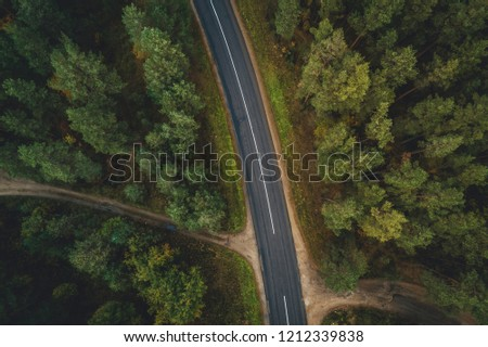 Forest road from above, Aerial view of a provincial road passing through a forest Riga, Latvia #1212339838