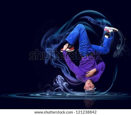 Modern style dancer posing against dark background with light effects. Illustration