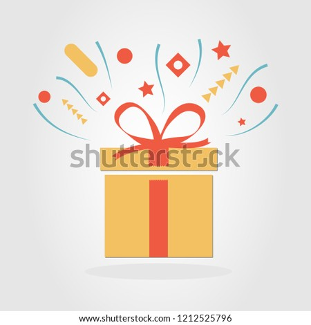 Delight present. Surprise yellow paper giftbox with red ribbon. Birthday or nameday party. Celebration event. Reward wonder box. Greeting concept. Vector isolated illustration. #1212525796