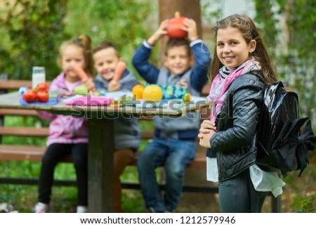 Girl work homework in nature #1212579946