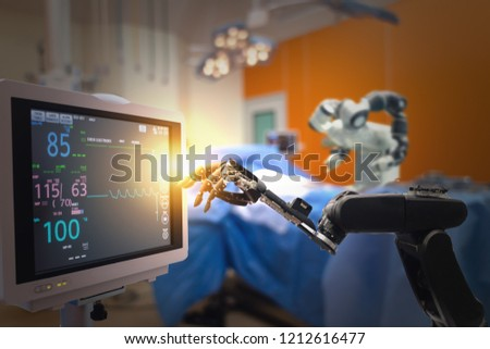 smart medical technology concept,advanced robotic surgery machine at Hospital, robotic surgery are precision, miniaturisation, smaller incisions, decreased blood loss, less pain,  quick healing time #1212616477