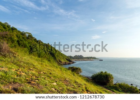 Beautiful landscape picture of view point coast and hill from Khao Leam Ya National park nearly Samet island in Thailand #1212678730